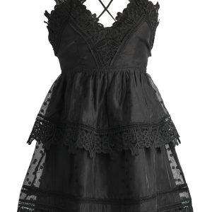 2 tier black lace dress $150
