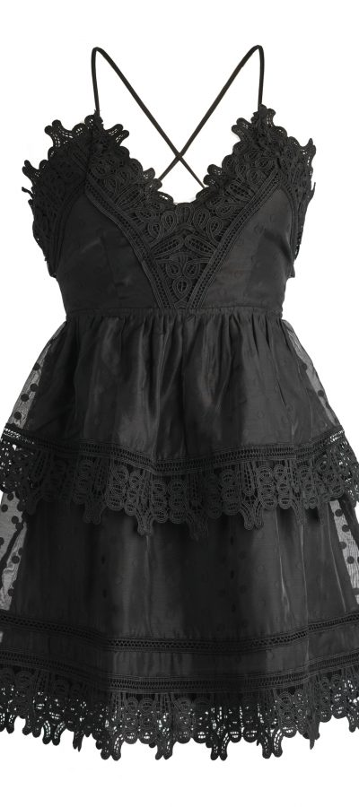2 tier black lace dress $150