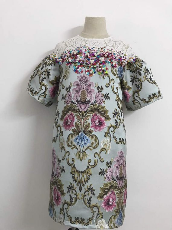 Jacaquard Aline Dress with lace and sequence embelishment $100