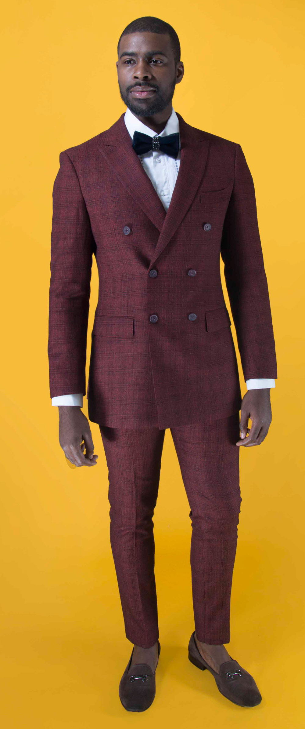 Double Breasted Peak Lapel Plaid Suit
